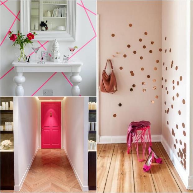 Déco rose bonbon detail meuble porte peinte masking washi tape.