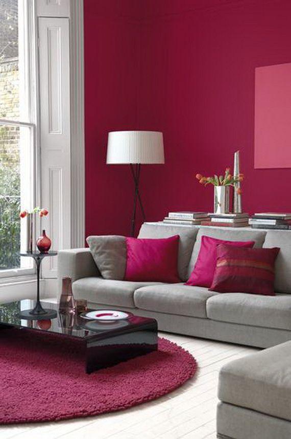 Déco rose bonbon mur peinture.