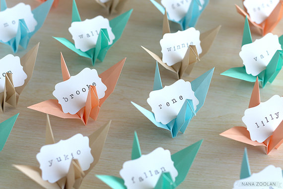 Etsy déco mariage marque table invite origami oiseau cygne