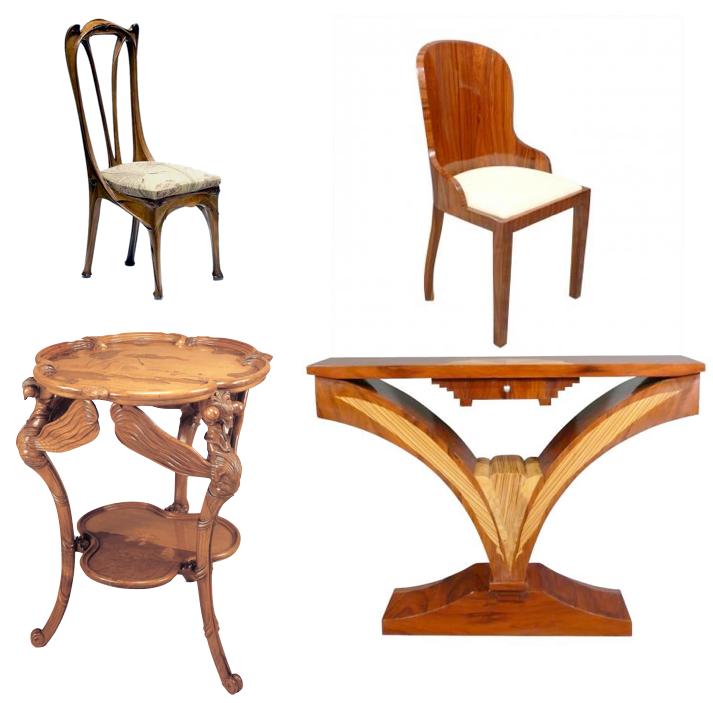 Mobilier chaise Différence entre art nouveau et art déco.