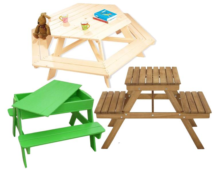 Table de pique-nique en bois pour enfant.