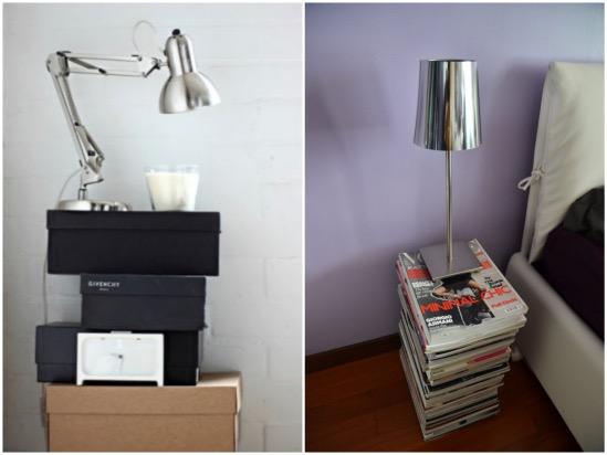 Tables de nuit DIY boite a chaussures magazine.