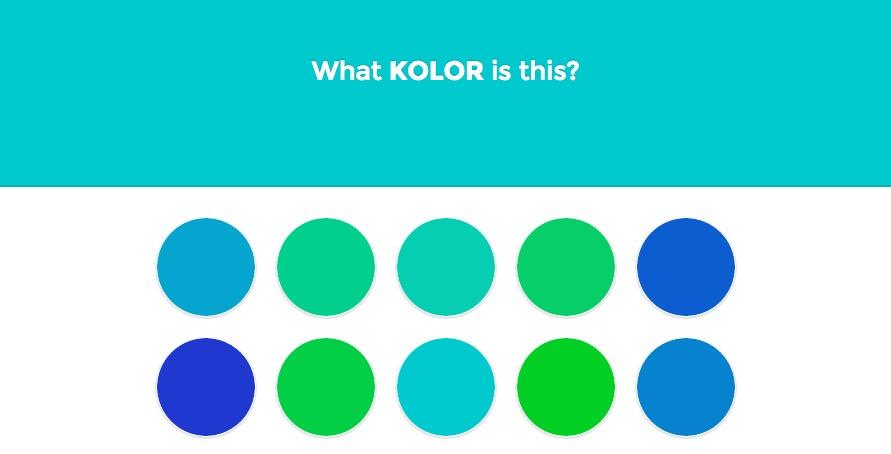 Test de reconnaissance des différenciation nuance de bleus.