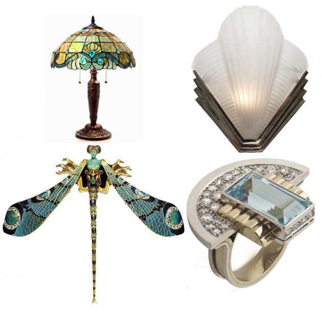 différence entre Art Nouveau et Art Déco lampe luminaire.