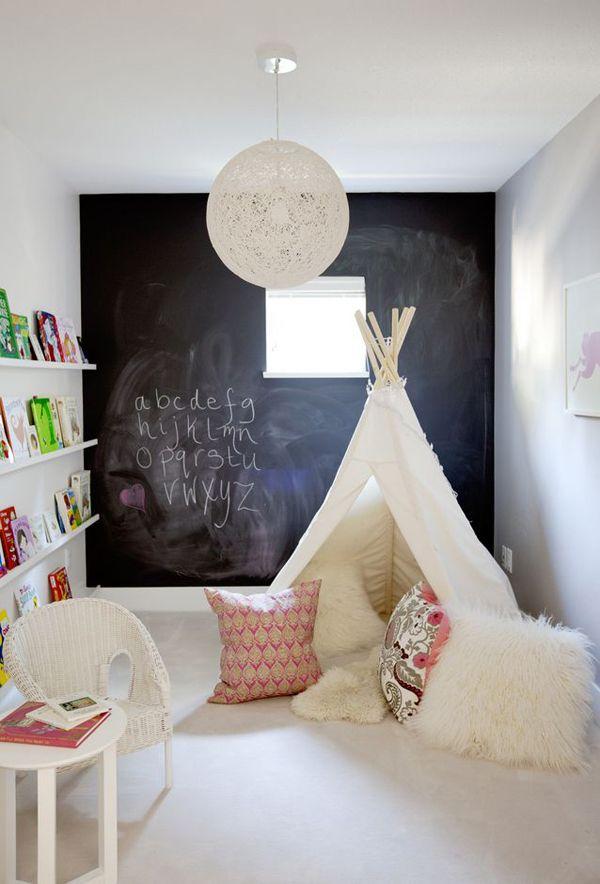 inspiration chambre enfant romantique lune mur peinture ardoise.