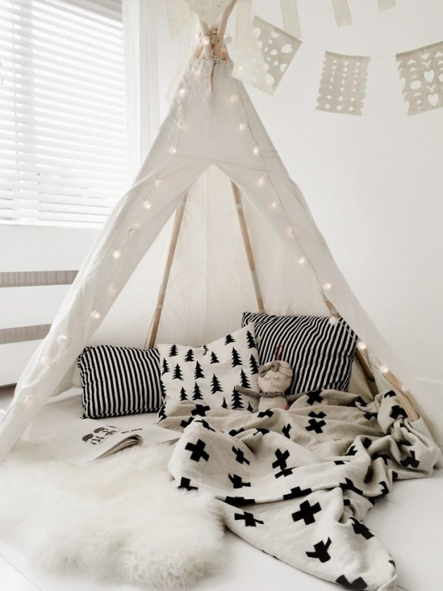 inspiration tipi chambre enfant blanche style scandinave.
