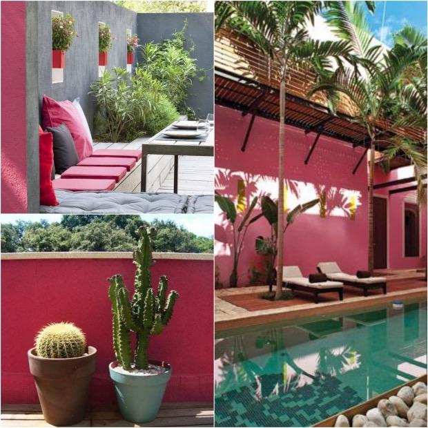 peindre mur exterieur déco rose bonbon gris piscine terrace.