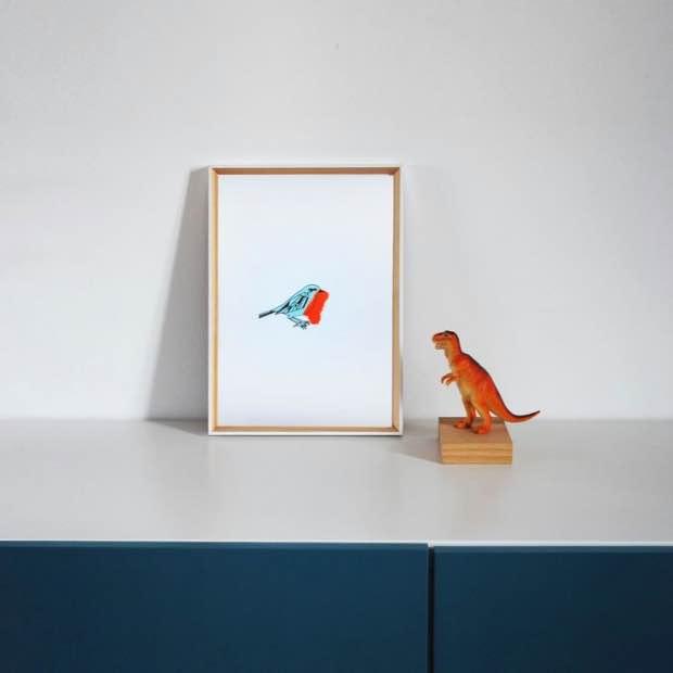 Affiche deco chambre d'enfant oiseau rouge gorge.