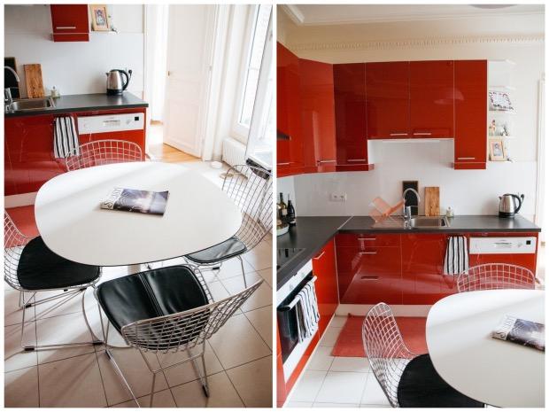 cuisine rouge brillante noire et blanche.