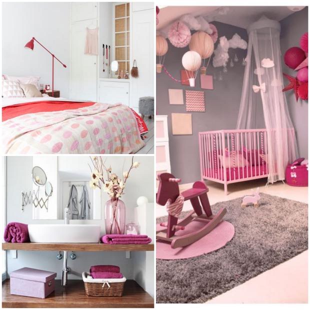 chambre déco rose bonbon et gris blanc