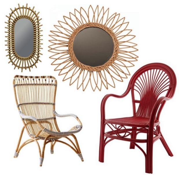 fauteuil en rotin et miroir assorti.