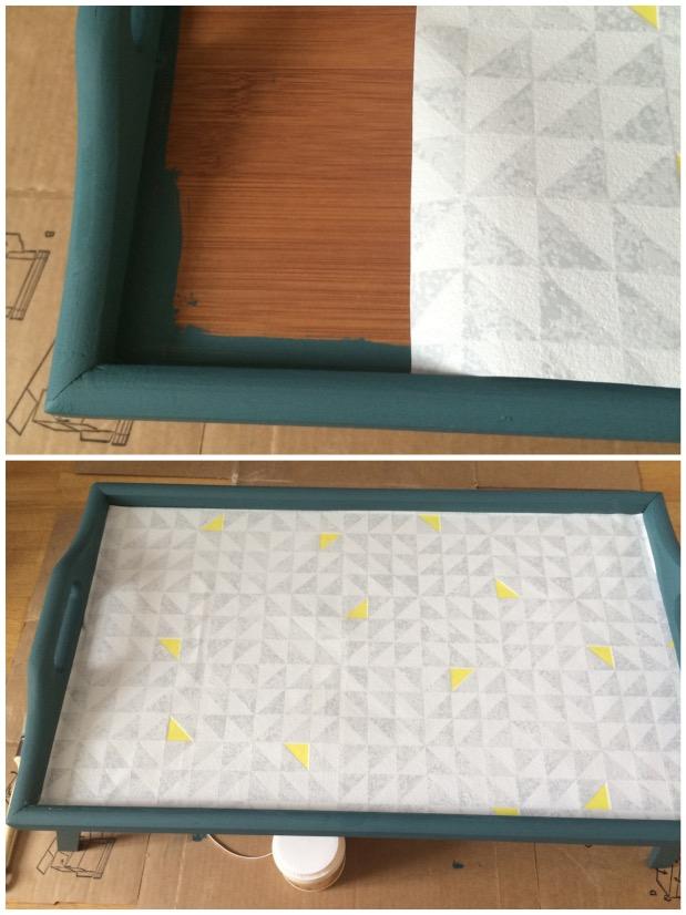 plateau petit dejeuner a pieds papier peint diy.