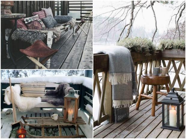 decoration extérieur hiver noel fausse fourrure terrasse.