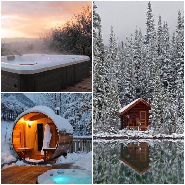 sauna jacuzzi exterieur amenager sa terrasse pour l'hiver jardin.