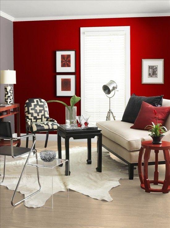 salon rouge noir blanc