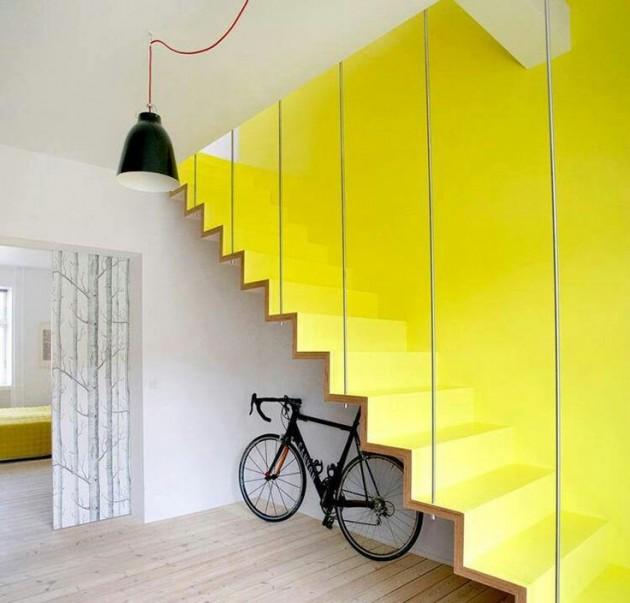 escalier jaune loft