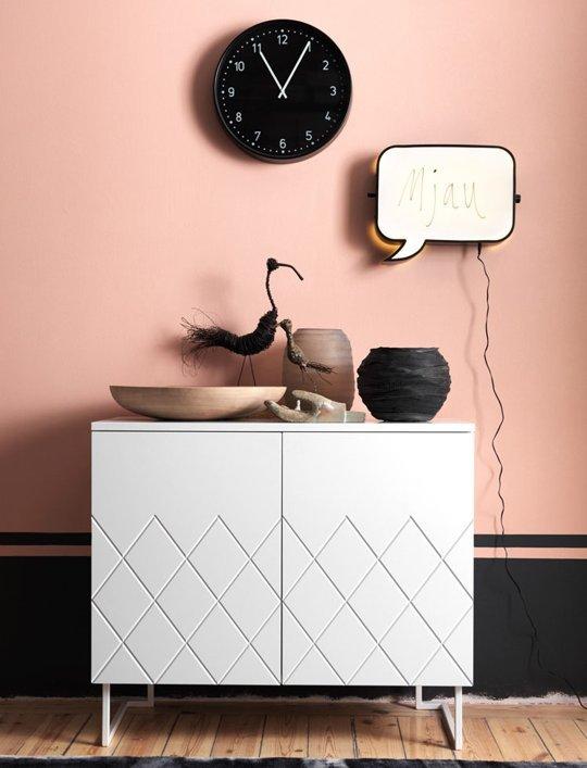 mur peint rose noir