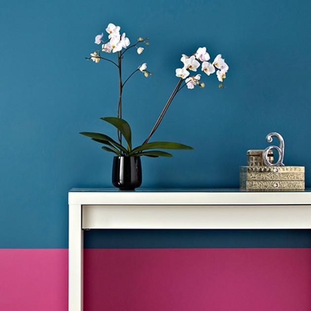 mur peint rose bleu