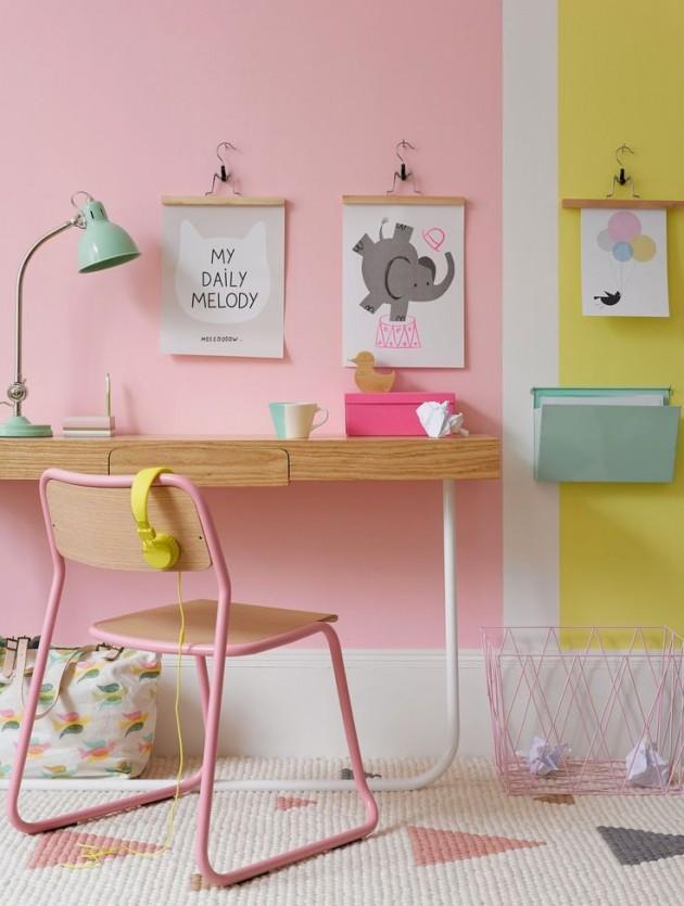 chambre enfant rose et jaune