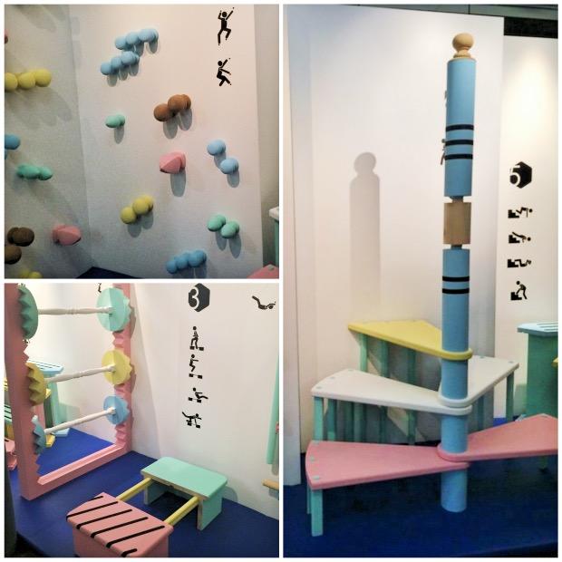 Mur d'escalade en boules de rampes d'escaliers, haltères et escalier infini. Une réalisation Lab' Lapeyre x Buro Bonus pour la Paris Design Week 2015.