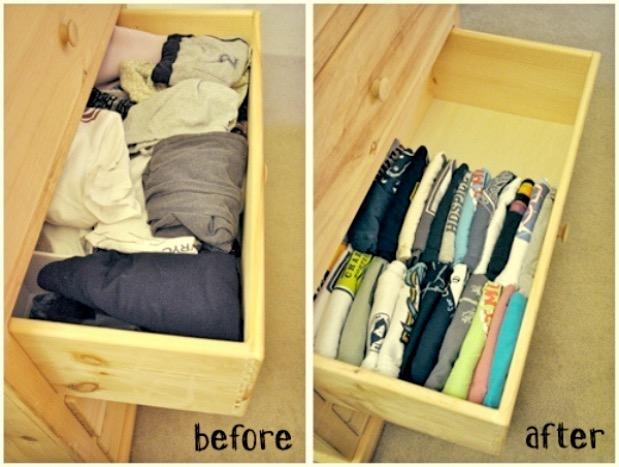 Organiser ranger son tiroir a tee-shirts.