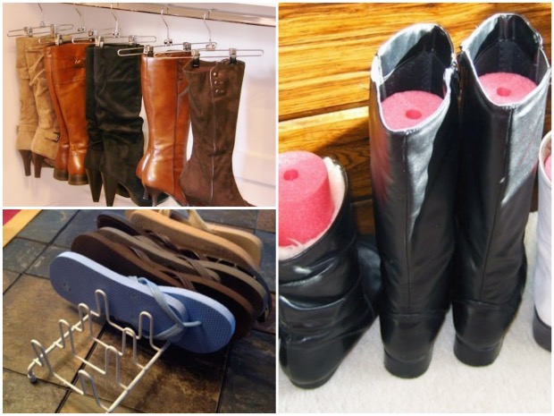 Suspendre ses bottes avec des cintres pour pantalons. Organiser ses sandales avec un égouttoir à assiettes. Protéger ses bottes avec une frite de piscine coupée.