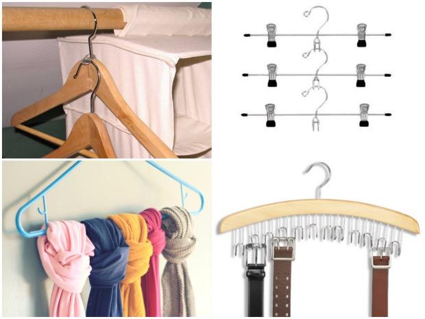 Doubler ses cintres avec une languette d'ouverture cannette. Utiluser des cintres spéciaux pour ceintures (15,50€0.