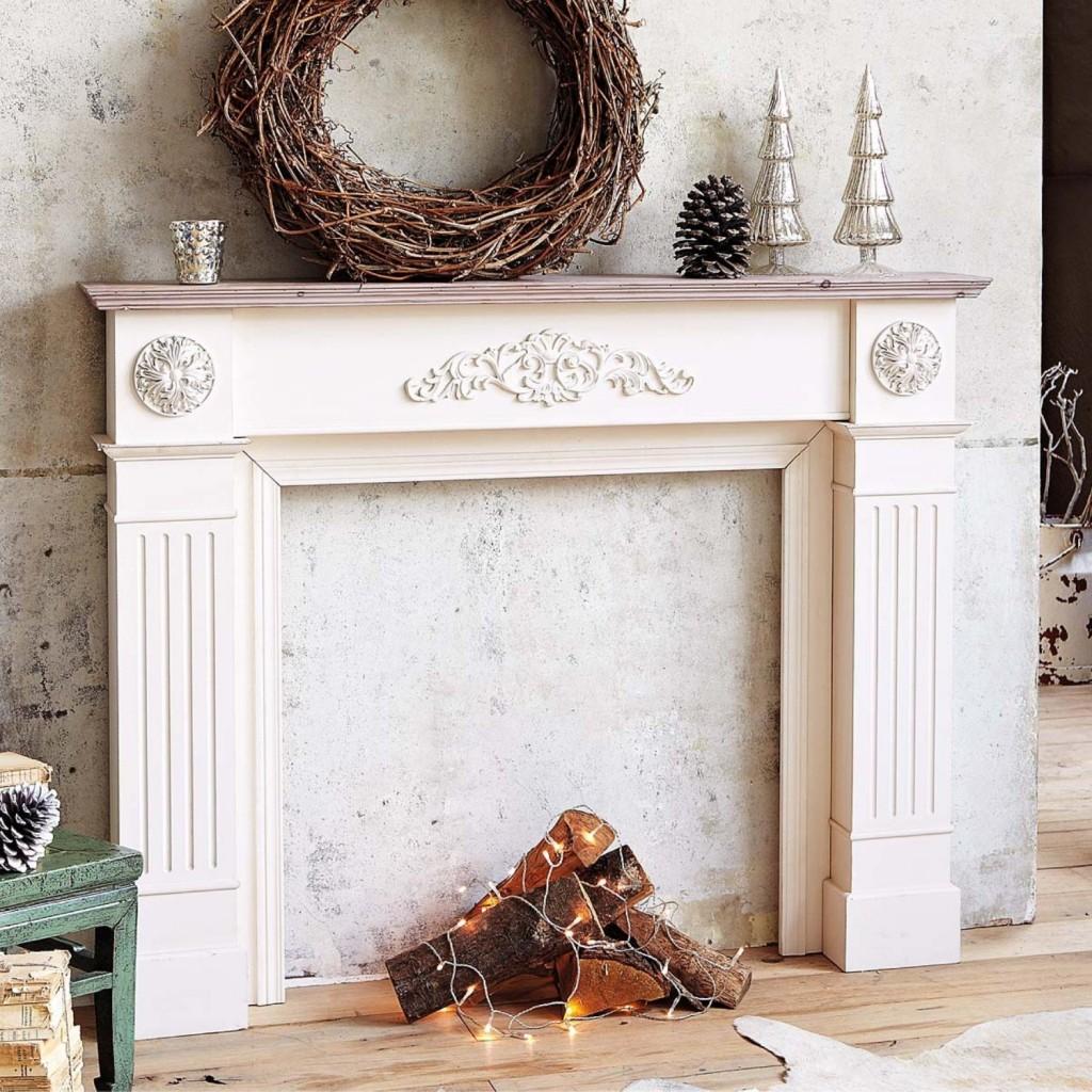fausse cheminée decorative noël salon
