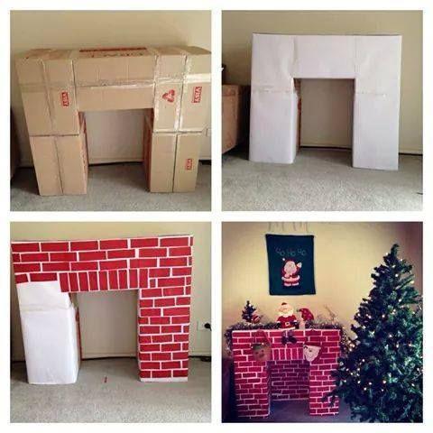 Fabriquer fausse cheminée en carton DIY