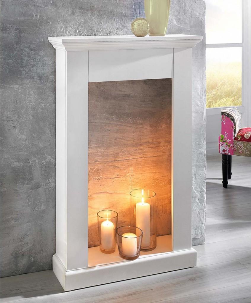 fausse cheminée decorative manteau bougies