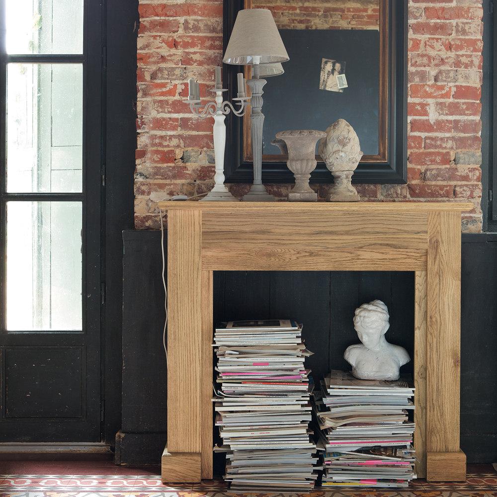 manteau de fausse cheminée maison du monde bois brique