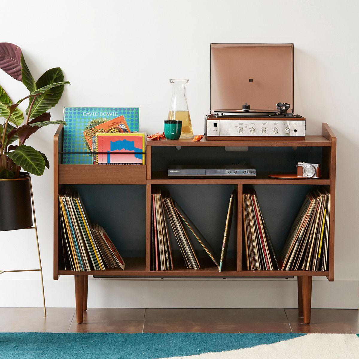meuble vinyle pas cher bois design retro vintage pied métal