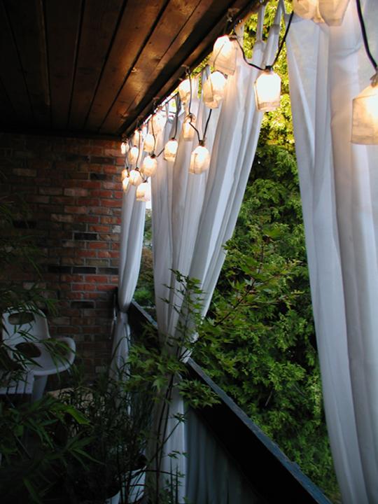 Rideau extérieur blanc pour terrasse balcon protection vent decor romantique