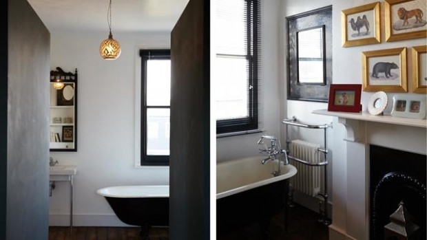 salle de bain vintage noire et blanche