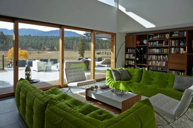 salon maison ouverte sur la nature.