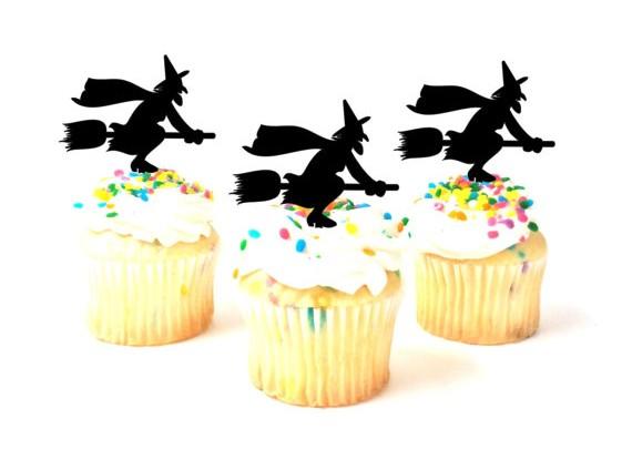 silhouette sorciere pour gateau cupcake.