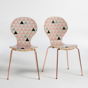 Chaise fourmi triangle scandinave cuivre