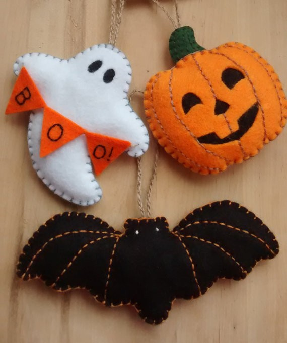 Halloween Etsy feutrine fantome citrouille.