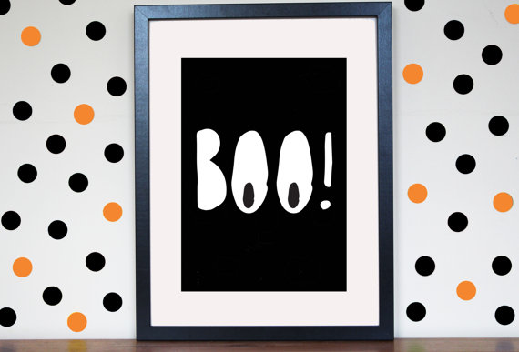 cadre affiche Halloween Etsy boo fantome.