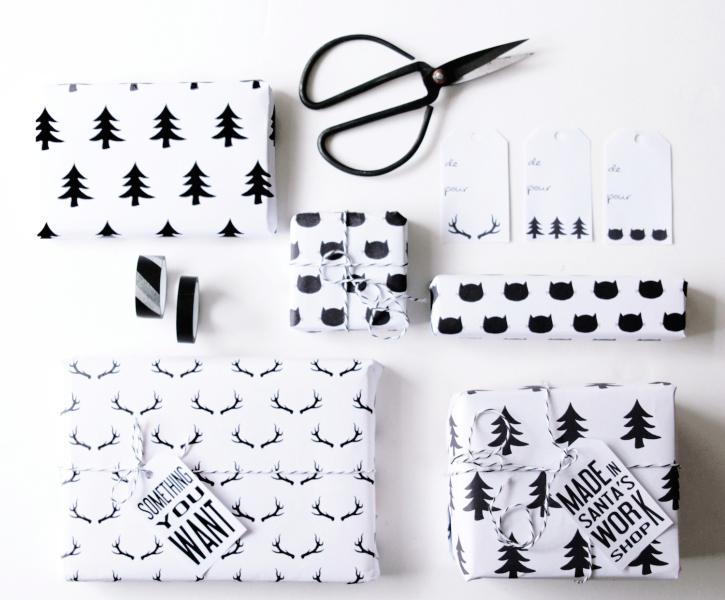 Papier cadeau à imprimer noir et blanc by Hello.