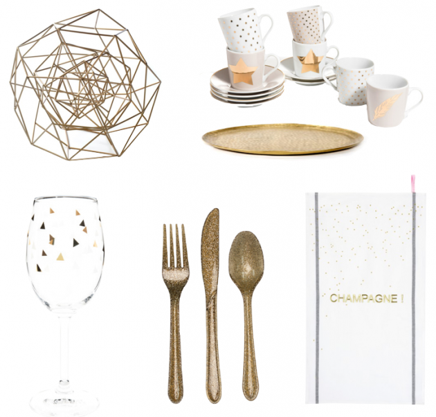 idee shopping table de noel or et blanc