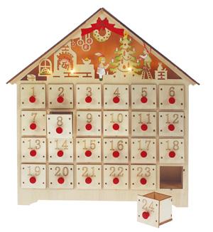 calendrier de l'avent maison en bois lumineux a remplir