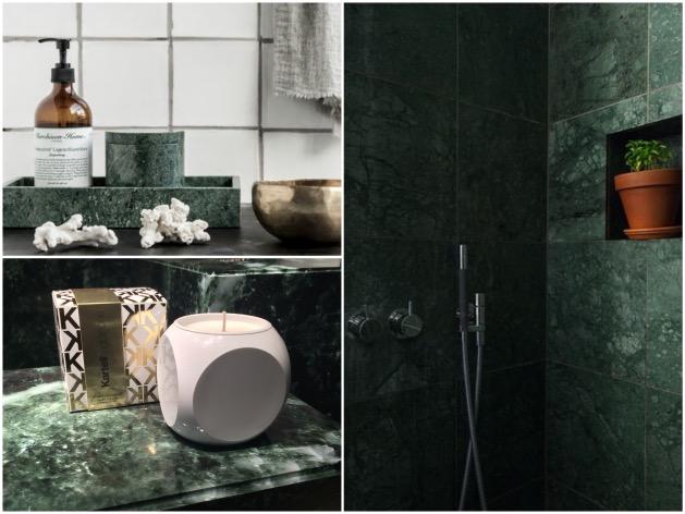 salle de bain accessoire marbre vert