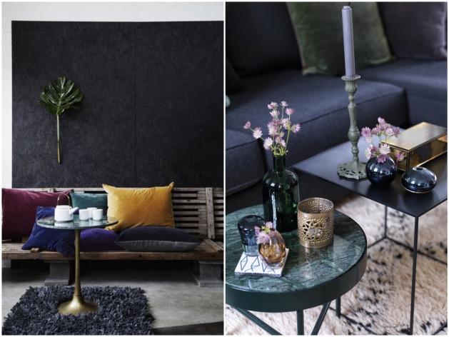 salon table basse marbre vert deco