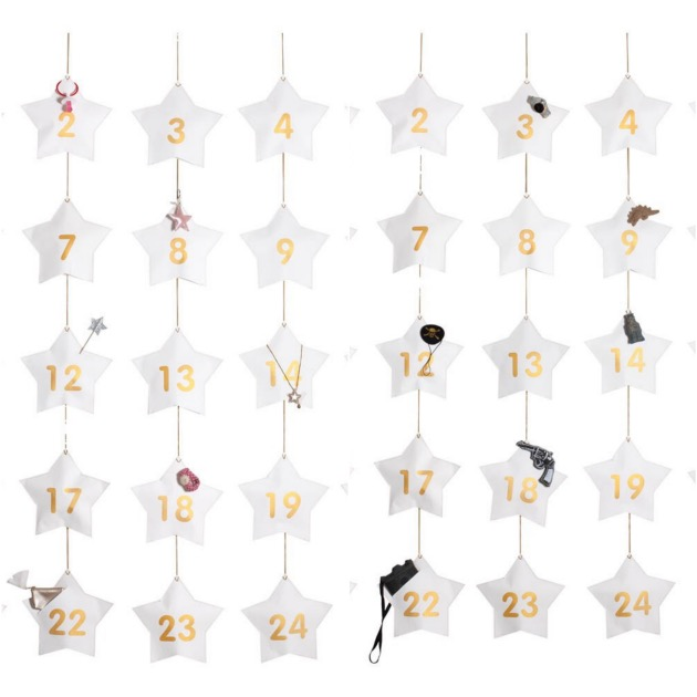 calendriers de l'avent déco fille 24 surprises blanc etoile