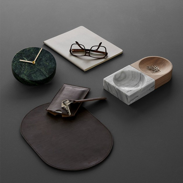 horloge marbre accessoire bureau deco