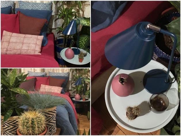 lit rouge brique bleu table de nuit monoprix maison déco