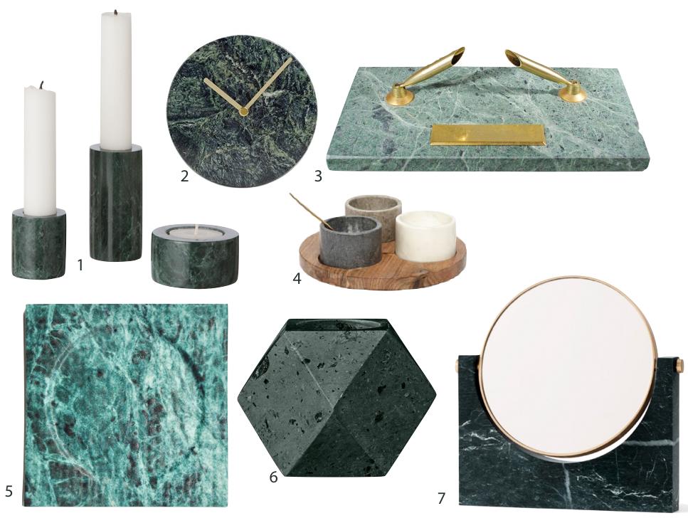 marbre vert accessoire deco decoration