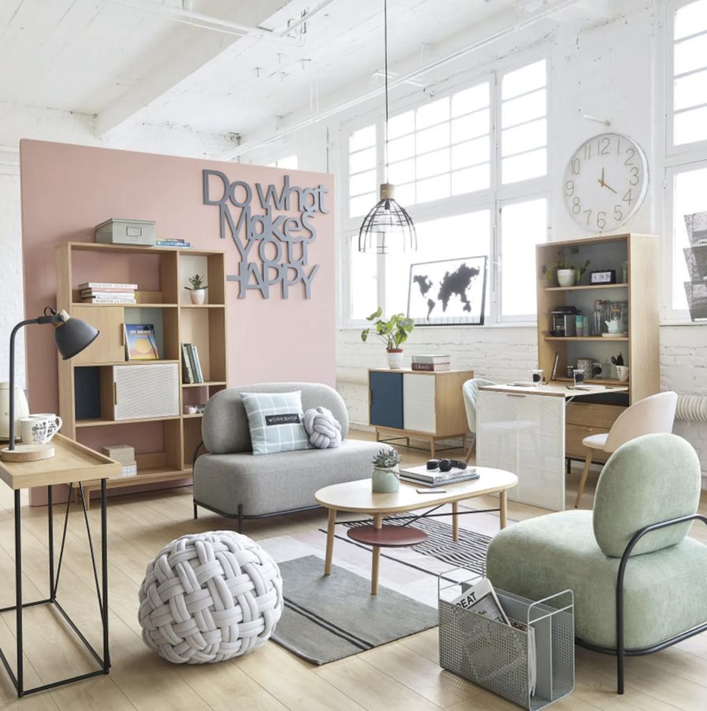 pouf tricot rond gris gros noeud salon gris rose pastel design scandinave - blog déco - clem around the corner