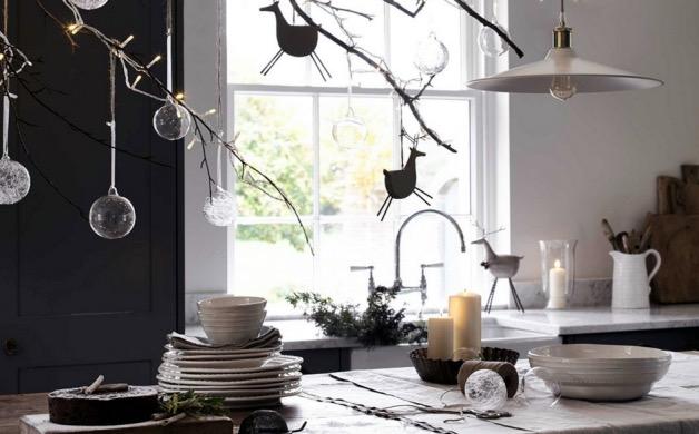 cuisine decoree pour noel noir et blanc